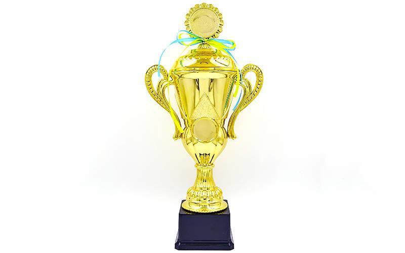 Кубок спортивный с ручками, крышкой и местом под жетон LUCK YK082C (металл, пластик, h-37,5см, b-18см, d чаши-см, золото)