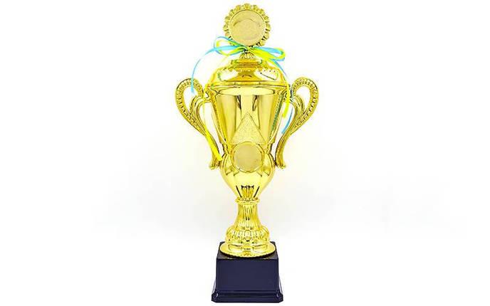 Кубок спортивный с ручками, крышкой и местом под жетон LUCK YK082C (металл, пластик, h-37,5см, b-18см, d чаши-см, золото), фото 2
