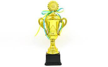 Кубок спортивный с ручками, крышкой и местом под жетон LUCK YK082C (металл, пластик, h-37,5см, b-18см, d чаши-см, золото), фото 3