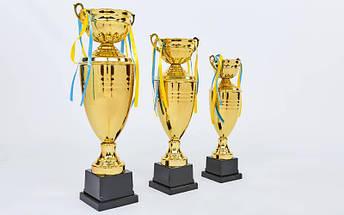 Кубок спортивный с крышкой и чашей CUP C-1505C (металл, h-44см, b-17см, d чаши-10см, золото), фото 3