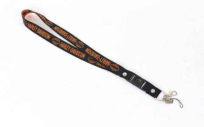 Шнурок для ключей, телефона HARLEY DAVIDSON M-4559-11 (эластичная, растяг. резина l-50см, черный-оранжевый), фото 2