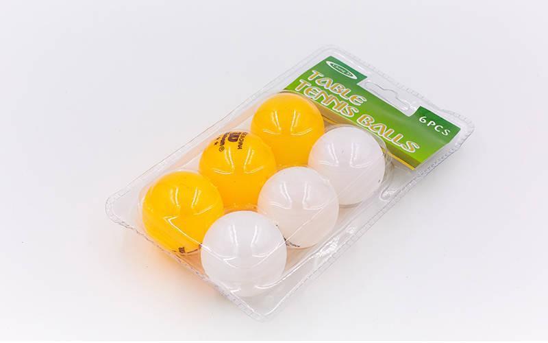 Набор мячей для настольного тенниса 6 штук SPORT MT-2068  (целлулоид, d-40мм, белый, оранжевый)