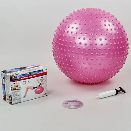 Мяч для фитнеса (фитбол) массажный 55см Body Sk BB-003-22-DN (PVC,1200г,+DVD,+насос, ABS технология, розовый), фото 2