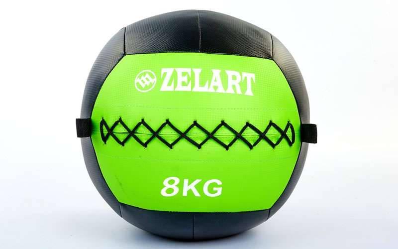 Мяч волбол для кроссфита и фитнеса 8кг Zelart WALL BALL FI-5168-8 (PU, наполнитель-метал. гранулы, d-33см, черный-зеленый)