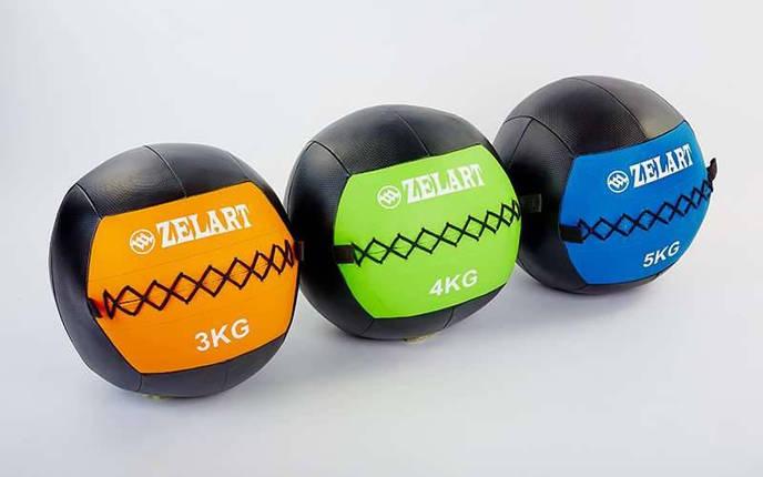 Мяч волбол для кроссфита и фитнеса 8кг Zelart WALL BALL FI-5168-8 (PU, наполнитель-метал. гранулы, d-33см, черный-зеленый), фото 2