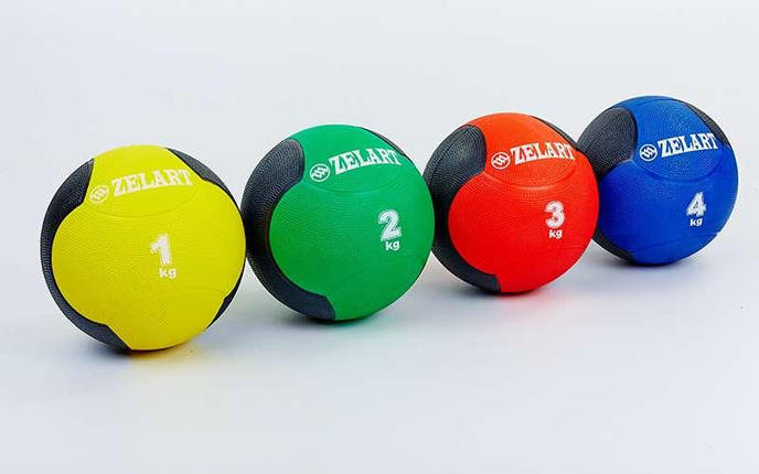 Мяч медицинский медбол Zelart Medicine Ball FI-5121-4 4кг (резина, d-21,5см, синий-черный), фото 2