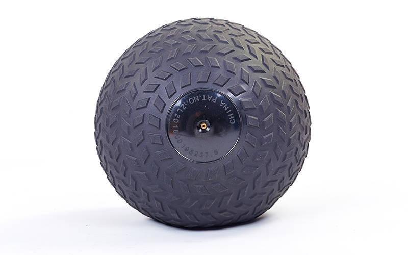 Мяч набивной слэмбол для кроссфита рифленый Record SLAM BALL FI-5729-7 7кг (PVC, минеральный наполнитель, d-23см, черный)