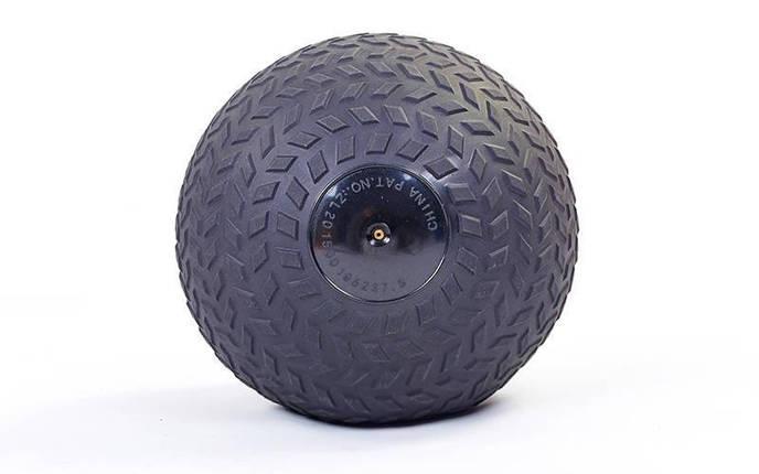 Мяч набивной слэмбол для кроссфита рифленый Record SLAM BALL FI-5729-7 7кг (PVC, минеральный наполнитель, d-23см, черный), фото 2