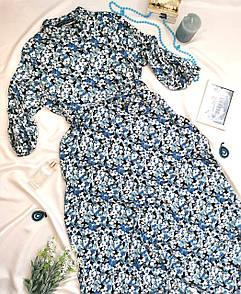 Жіноча сукня-сорочка в блакитна квіточка