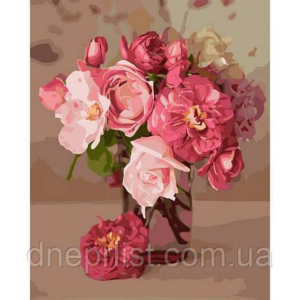 """Картина по номерам Букеты """"Розовое вдохновение"""", 40х30 см, фото 2"""