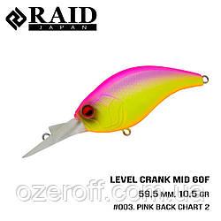 Воблер Raid Level Crank Mid (59.5mm, 10.5g) (003 Pink Back Chart 2)