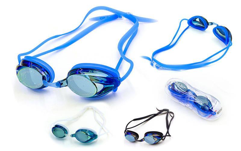 Очки для плавания с берушами в комплекте SAILTO 807AF (поликарбонат, силикон, зеркальные, цвета в ассортименте)