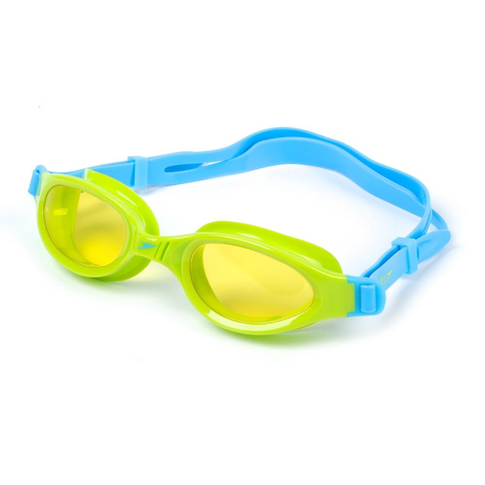 Очки для плавания детские SPEEDO FUTURA PLUS JUNIOR 809010B818 (поликарбонат, термопластичная резина, силикон, голубой-салатовый)