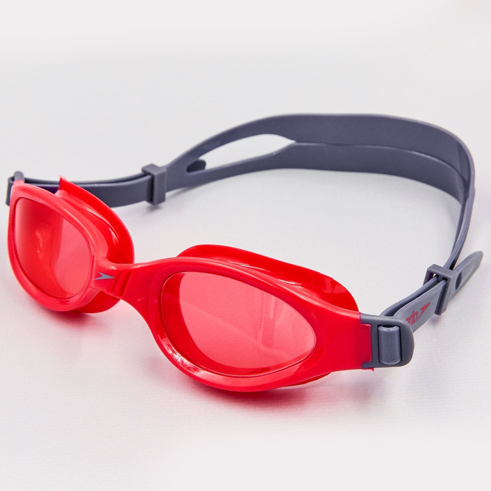 Очки для плавания детские SPEEDO FUTURA PLUS JUNIOR 809010B860 (поликарбонат, термопластичная резина, силикон, серый-красный)