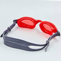 Очки для плавания детские SPEEDO FUTURA PLUS JUNIOR 809010B860 (поликарбонат, термопластичная резина, силикон, серый-красный), фото 2