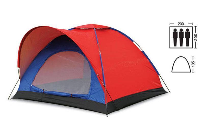 Палатка 3-х местная SY-010 (р-р 2х2х1,35м, PL)