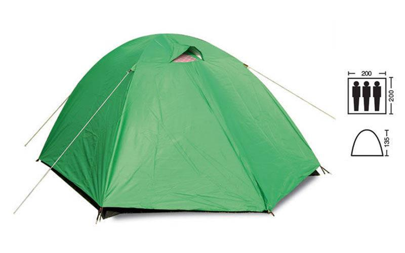 Палатка 3-х местная с тентом SY-007 (р-р 2х2х1,35м, PL)