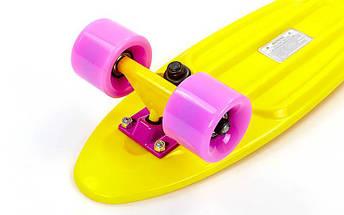 Скейтборд пластиковый Penny COLOR POINT FISH 22in с цветными болтами SK-403-4 (жел-фиол-фио), фото 2