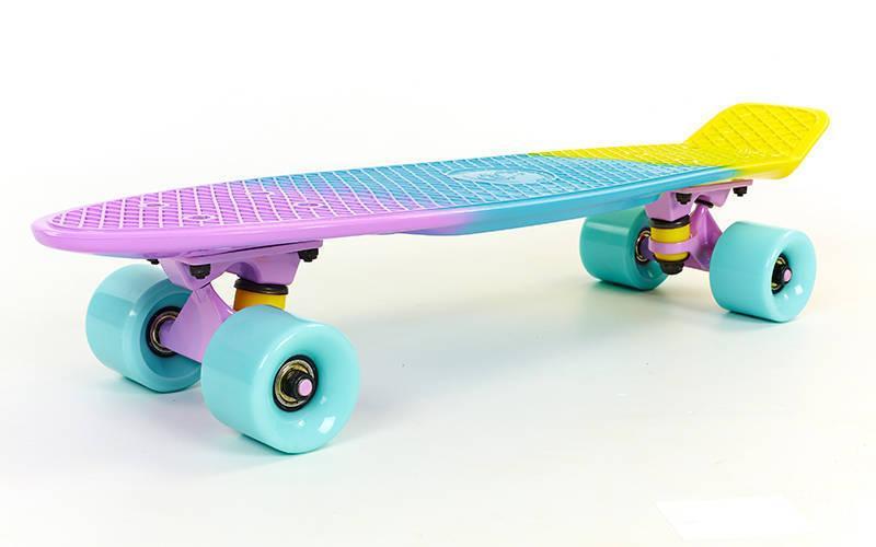 Скейтборд пластиковый Penny FISH COLOR 22in полосатая дека SK-402-7 (фиолетовый-голубой-желт)