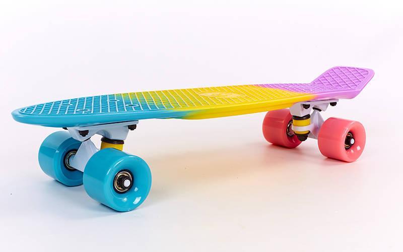 Скейтборд пластиковый Penny FISH COLOR 22in полосатая дека SK-402-6 (голубой-желтый-фиолетов)