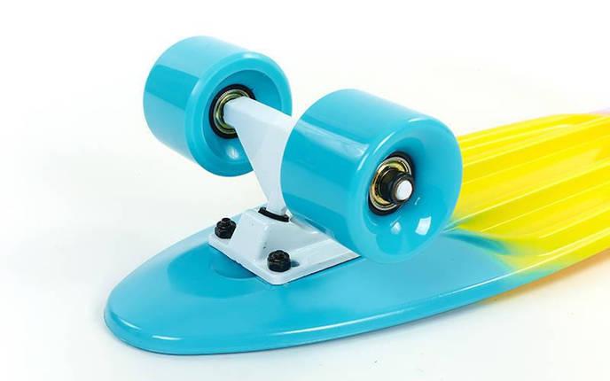 Скейтборд пластиковый Penny FISH COLOR 22in полосатая дека SK-402-6 (голубой-желтый-фиолетов), фото 2