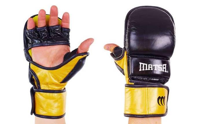 Перчатки гибридные для единоборств ММА кожаные MATSA ME-2011 (р-р M-XL, цвета в ассортименте), фото 2