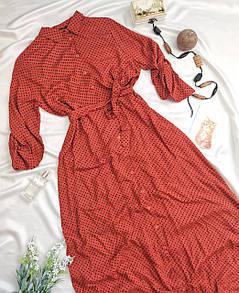 Жіноча сукня-сорочка помаранчеве в горошок