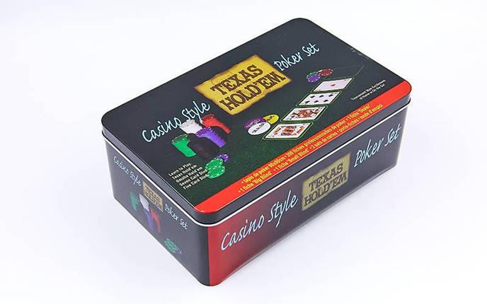 Покерный набор в металлической коробке-200 фишек IG-1104215 (с номиналом,2 кол.карт,полотно), фото 2