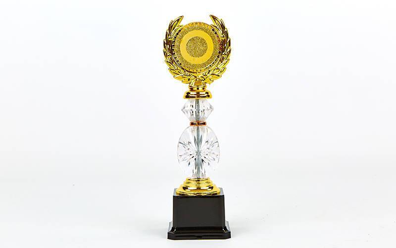 Награда (приз) спортивная с местом под жетон YK-138 (пластик, h-26cм, b-8см, золото)