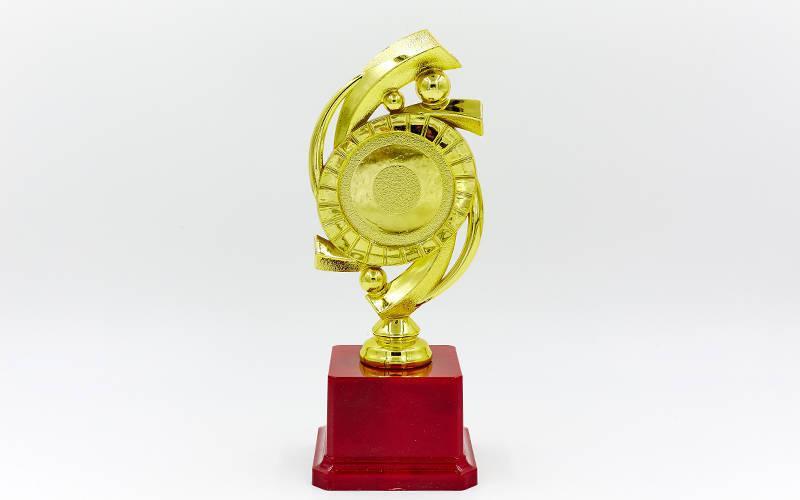 Награда (приз) спортивная с местом под жетон YK122C (пластик, h-20,5см, b-8см, золото)
