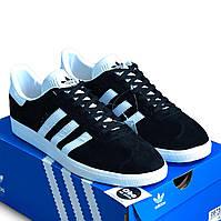 Кросівки Кеди Чоловічі Adidas Gazelle Чорна Замша (41-45)