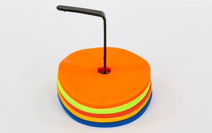 Набор плоских кругов-маркеров для разметки (20шт) FB-7098-20 (PE, d-16см, на подставке, разноцветный), фото 2