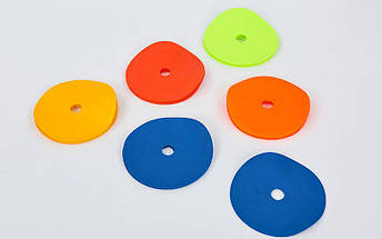 Набор плоских кругов-маркеров для разметки (20шт) FB-7098-20 (PE, d-16см, на подставке, разноцветный), фото 3