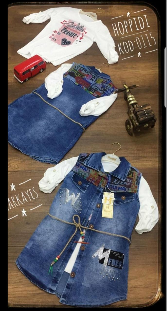 Туника джинсовая с рубашкой для девочек 9-12 лет