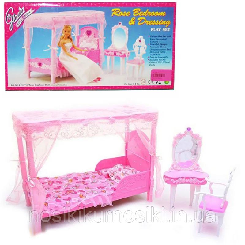Лялькова меблі Gloria Глорія 2614 Спальня - ліжко з балдахіном, трюмо