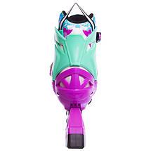 Роликовые коньки раздвижные Zelart Z-097VG SPRING размер 30-41 фиолетовый-зеленый, фото 3