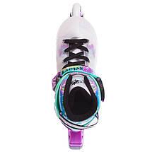 Роликовые коньки раздвижные Zelart Z-097VG SPRING размер 30-41 фиолетовый-зеленый, фото 2