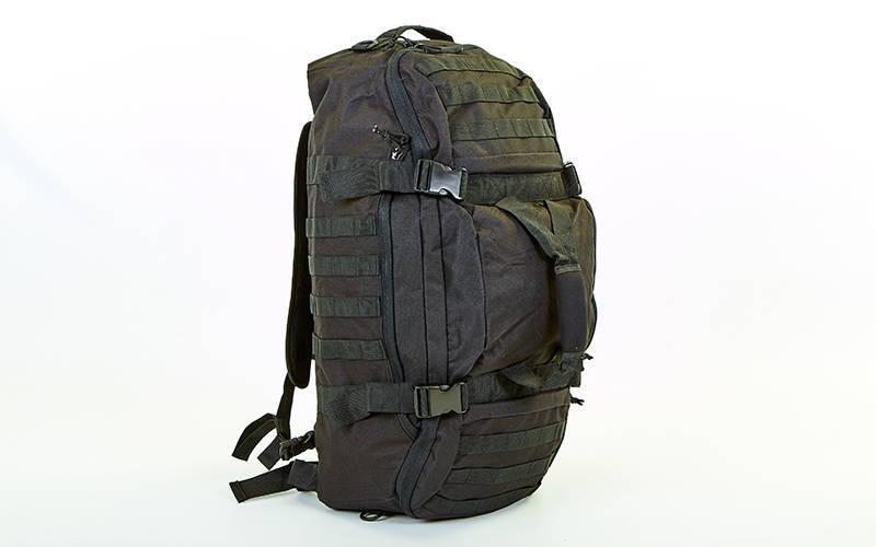 Рюкзак-сумка трансформер тактический рейдовый SILVER KNIGHT 40 литров TY-186-BK (нейлон, оксфорд 900D, размер 66х32х17см, черный)