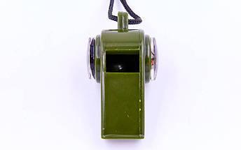Свисток с компасом пластиковый H3-1 (на шнуре, цвет оливковый), фото 2