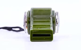 Свисток с компасом пластиковый H3-1 (на шнуре, цвет оливковый), фото 3