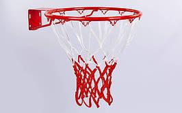 Сетка баскетбольная C-5643 (полиэстер, 12 петель, цвет белый-красный, в компл. 2 шт.)