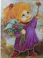 Набор для вышивки бисером Ангел девочка с цветами Д 251