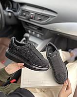 Стильные женские кроссовки Alexander McQueen (Александр Маквин) Black, фото 1