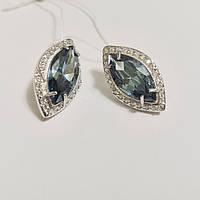 Сережки зі срібла родированные з синім кристалом Реді, фото 1