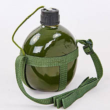 Фляга туристическая V-1,5л с ремнем TY-4836-1,5 (алюминий, оливковый)