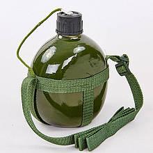 Фляга туристическая V-1л с ремнем TY-4836-1 (алюминий, оливковый)