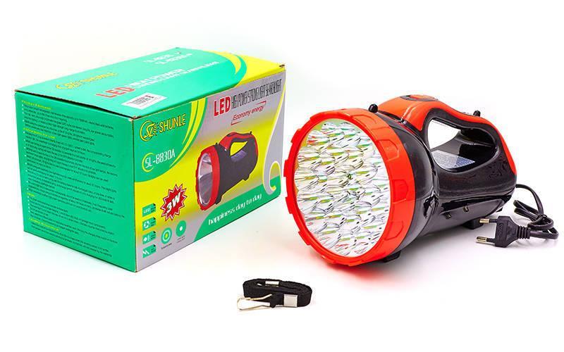 Фонарик ручной кемпинговый (для машины) BL-8830 (пластик, 30 светодиодов, l-21см, черный-красный)