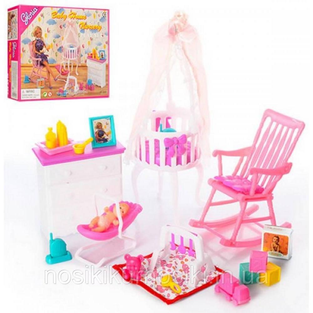 Кукольная мебель Gloria Глория 9929 Детская комната - кроватка с балдахином, переноска, пупс