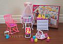 Кукольная мебель Gloria Глория 9929 Детская комната - кроватка с балдахином, переноска, пупс, фото 2