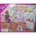 Кукольная мебель Gloria Глория 9929 Детская комната - кроватка с балдахином, переноска, пупс, фото 3